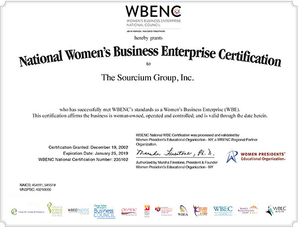 Women's Business Enterprise National Council Certification for The Sourcium Group